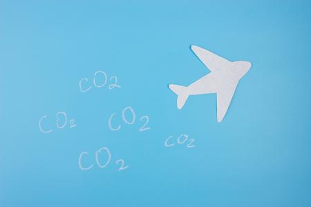 Air plane trails in blue sky.
