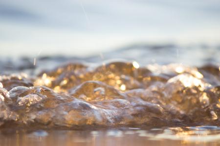 Sea ,sun ,beach. blurred waves bokeh background