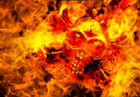 skull in fire close up