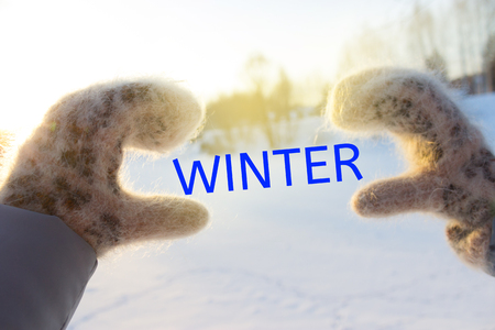 winter holidays, christmas and people concept. Stock Photo