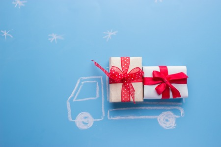 draw of a car with gift boxes
