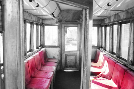 old abandoned luxury interior. red velvet armchairs