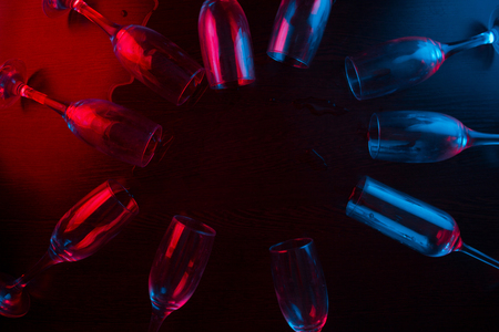 Steaming bottle of poison in neon light. copy space Stock Photo