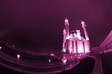 toned image of mosque at night. kazan kremlin Archivio Fotografico
