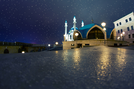 A ramadan moon and the mosque at night Stock Photo