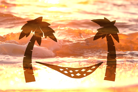 beach hammock hanging on a palm tree. concept image