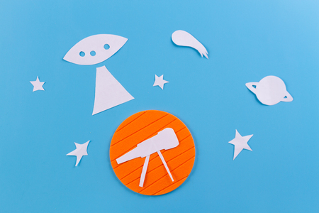 telescope and stary sky made from paper