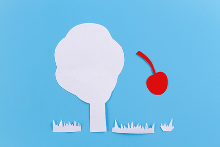cherry on tree. crop concept. paper cut