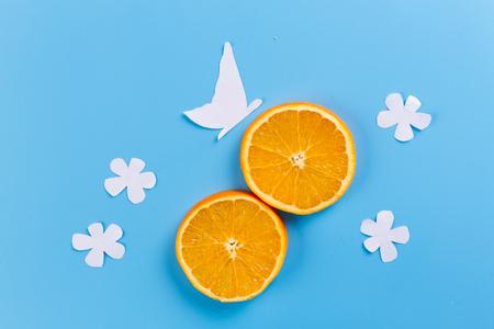 orange fruit crop. orange and flowers. paper cut