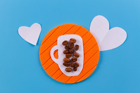 coffee cup with heart. paper cut concept