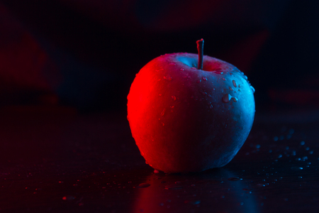 One apple on the table. Neon light. close up Фото со стока