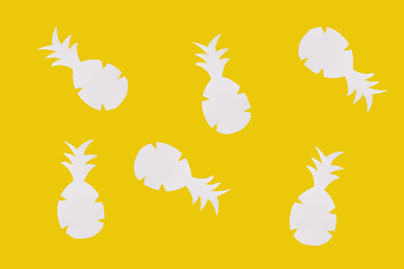 pineapple seamless texture. yellow background. made of paper