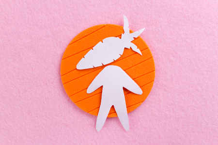 person with carrot instead his head. paper cut
