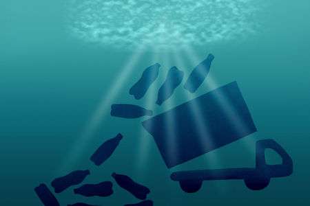 Plastic pollution in ocean environmental problem. concept image