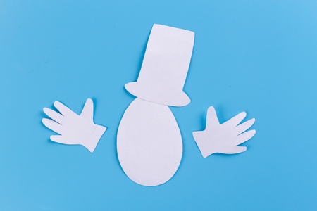paper egg character in cylinder with cigar