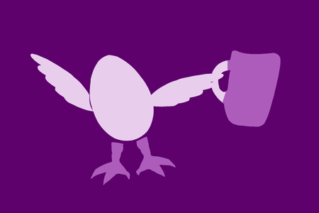 egg character with a drink on dark background