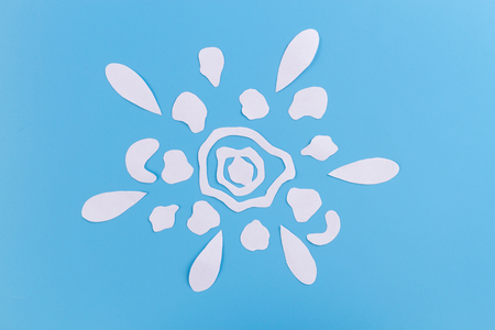 flover pattern made of paper. blue background