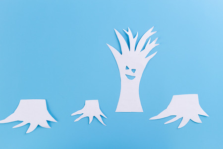 deforestation concept image. cutted tree. made of paper Stockfoto