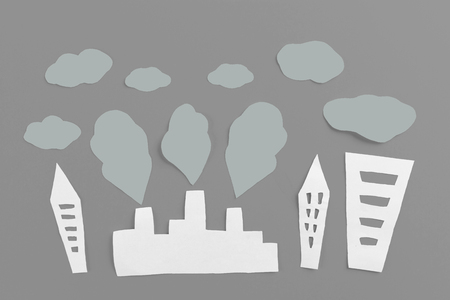 air pollution concept image made of paper