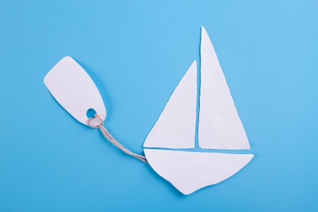 The concept of buying a sea cruise. blue background