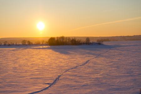 winter sunset over field. foot path Stock Photo