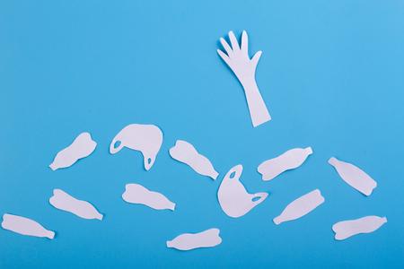 ocean plastic pollution issue. man sinking in plastic