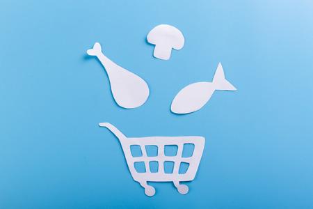 Shopping cart full of food. cartoon style