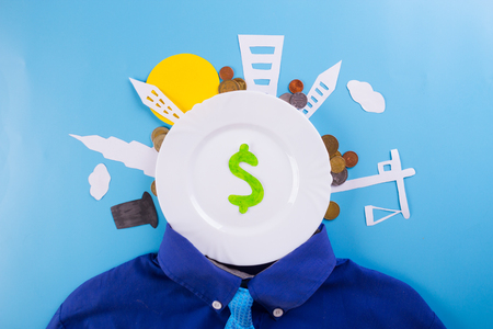 business investment concept image. blue background