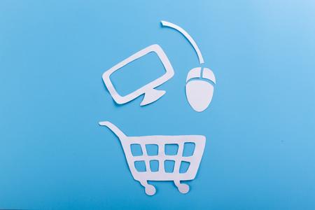 electronic device shopping concept. cartoon style Stok Fotoğraf
