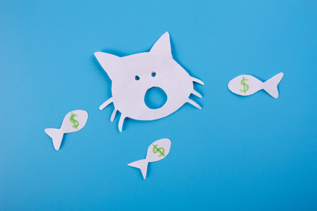 money and good luck concept. cat and dollar fishes Stock Photo