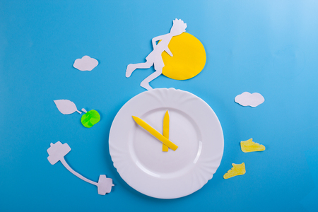 run in the morning concept. runner and clock