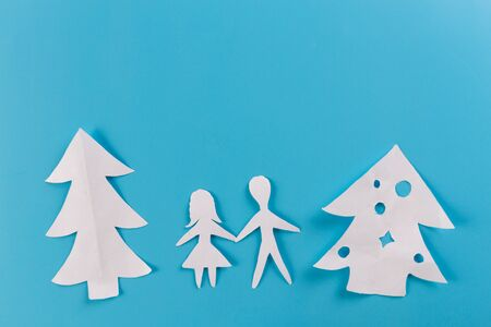 christmas stuff made from paper. blue background Stockfoto