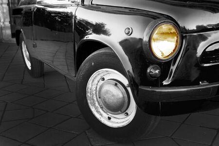 Close up of back mafia car. Retro styled