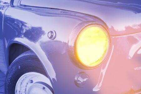 Close up of blue retro car. Old car