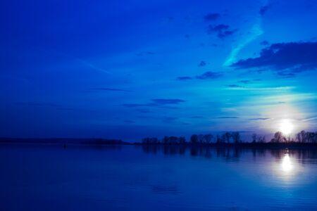 night on the river. sky full of stars Фото со стока