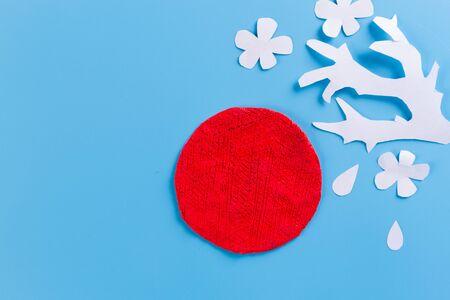 Paper art of Japan flag and sakura