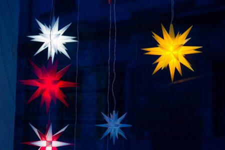 lanterns on the street in a star shape