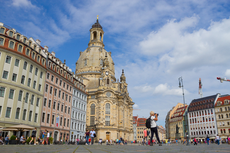 dresden frauenkirche chirch. View on the church and the square Editorial