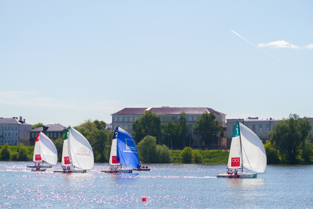 sailing competetion on the river. Russia, Kazan, 28.05.2019 Editorial
