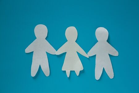 Threesome concept image. three paper people