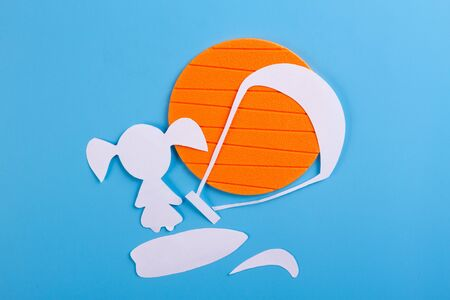 Funny character on kite surf. Blue background