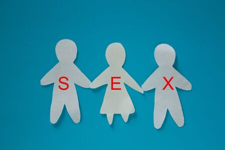 Threesome sex concept image. three paper people Stockfoto