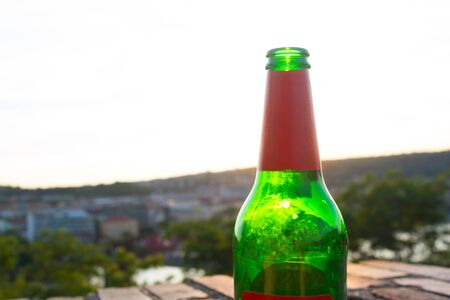 green beer bottle outdoor.  with copy space Stockfoto