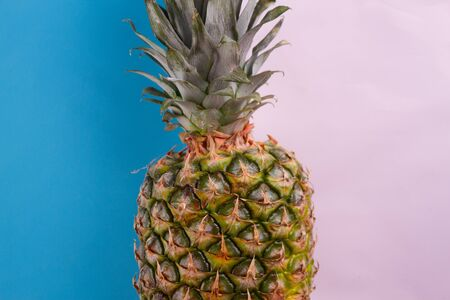 pineapple close up on the blue background