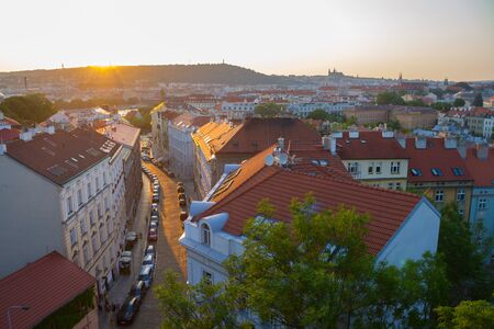 building with red roof in Prague, Chezh Republic Stockfoto