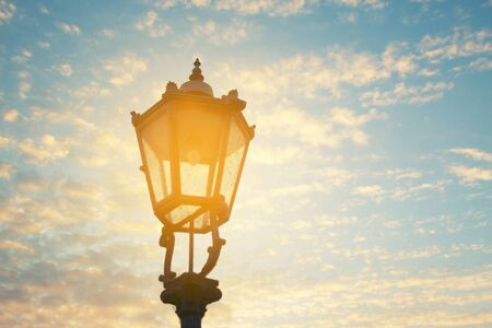 Beautiful street lantern over blue sky background