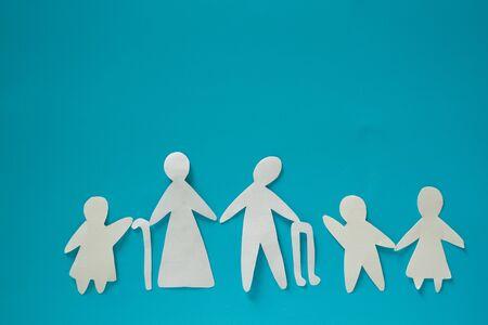 Big family with parents children and grandparents Standard-Bild - 130618601