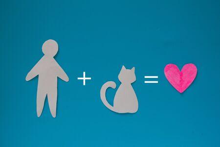 Love to cat concept image. man plus cat is love