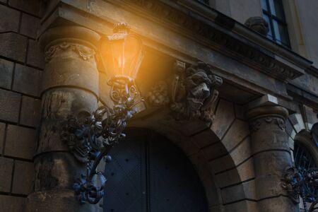 Beautiful street lantern over blue sky background
