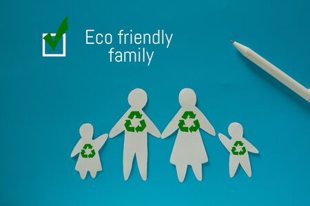 Eco friendly family concept image. Recycle symbol on family Stock fotó - 130685136